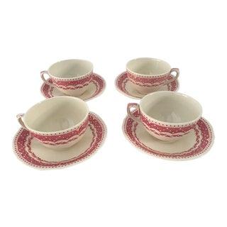 "Vintage ""Avon"" Pattern Grindley-England Tea Cups & Saucers - Set of 4"