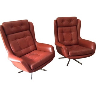 Vintage Leather Tufted Swivel Chairs - A Pair