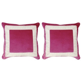 "Set of 2 Miles Talbott Sangria Pink ""Robertson"" Greek Key 20x20 Velvet Pillows – A Pair"