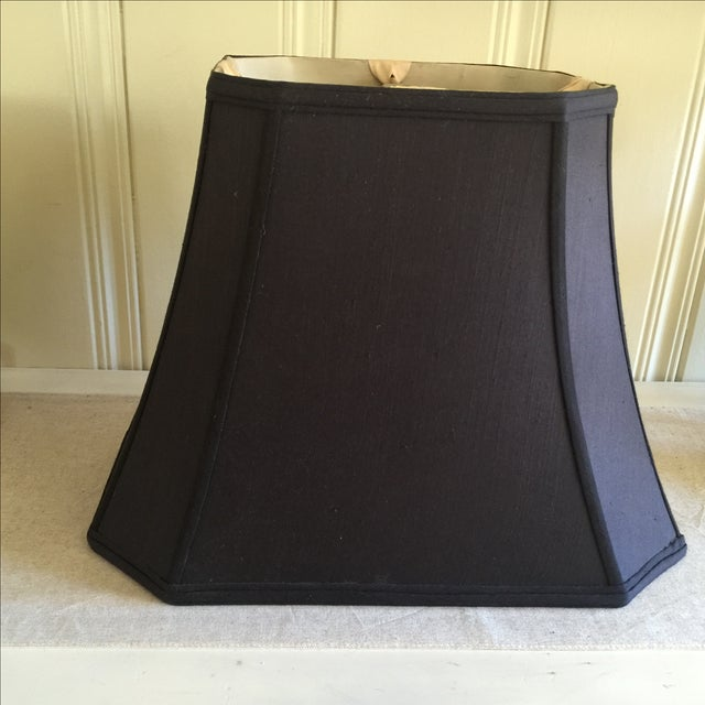 Mid-Century Black Silk Lamp Shades - A Pair - Image 8 of 11