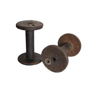Antique Large Wood & Metal Spools - Set of 2