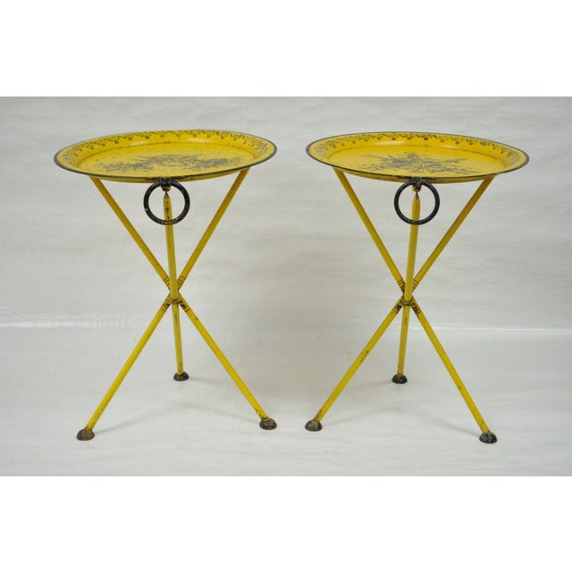 Italian Neoclassical Tole Folding Tables - A Pair - Image 9 of 11