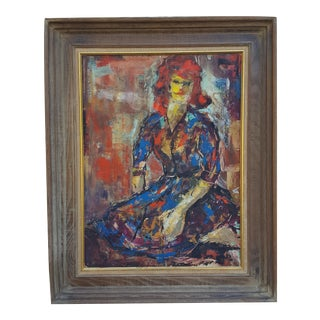 1963 Abstract Woman Oil Portrait Painting by H.Bernstein
