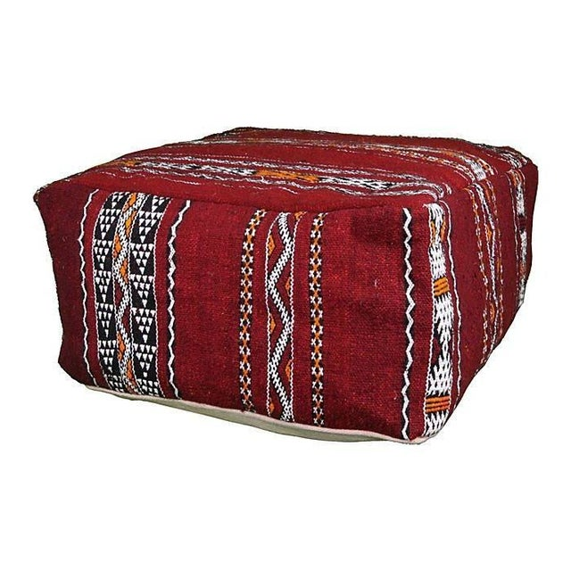 Moroccan Floor Pillows: Red Hand-Woven Moroccan Floor Cushion