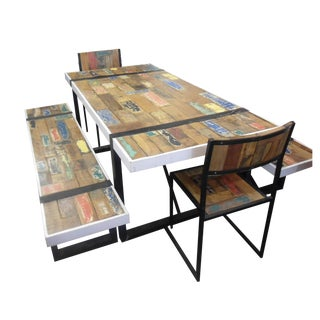 Reclaimed Boat Wood Teak Dining Set - Set of 5