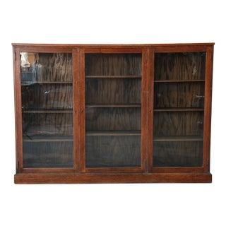 Antique Oak Glass Front Triple Bookcase