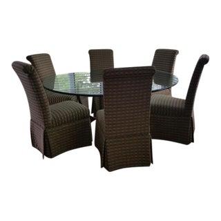 Swaim Glass Dining Table & 8 Chairs Set