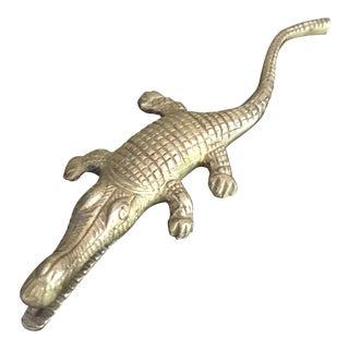 Mid Century Solid Brass Alligator Crocodile