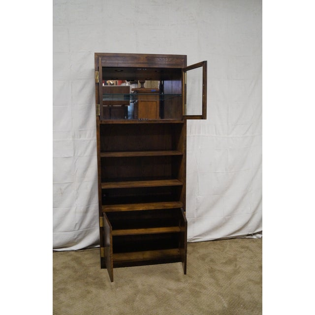 Henredon Campaign Oak Bookcase with Curio Top - Image 5 of 10