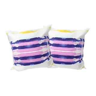 Purple Sailor Stripes Linen Pillows - A Pair