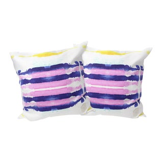 Purple Sailor Stripes Linen Pillows - A Pair