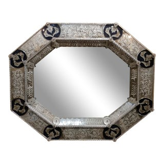 19th century Beautiful antique Venetian octagonal Etched Wall Mirror