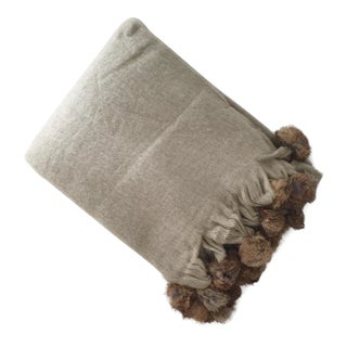 Beige Mohair Throw Blanket With Rabbit Fur Trim