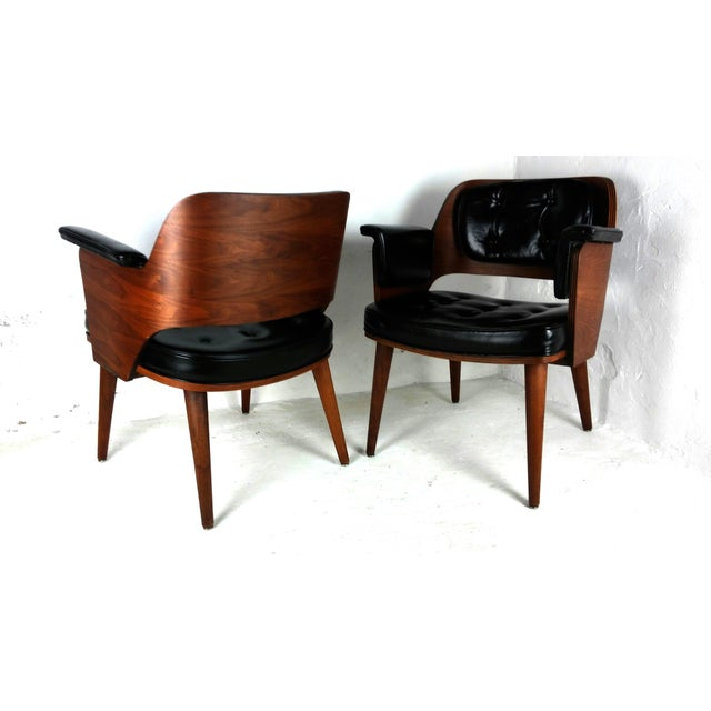 Mid-Century Danish Leather & Walnut Lounge Chairs - A Pair - Image 9 of 10