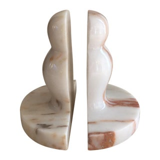 Marble Pawn Bookends - A Pair