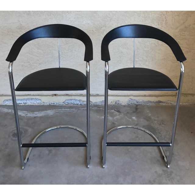 Modern Bar Stools In The Style of Anton Lorenz for Thonet- A Pair - Image 3 of 11