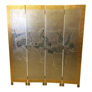 Vintage Asian Cranes Silver Leaf Screen