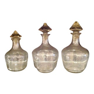Mid-Century Modern Etched Decanters - Set of 3
