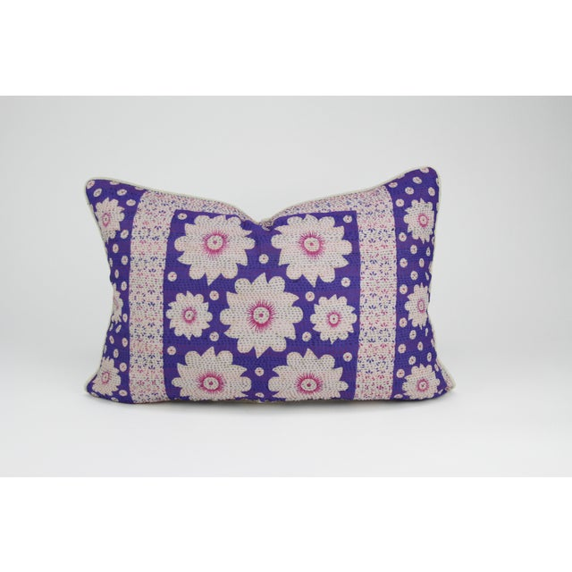 Purple Silk Aubergine Daisy Pillow - Image 3 of 3