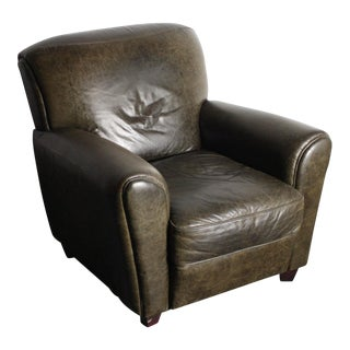 Distressed Italian Leather Designers Chair