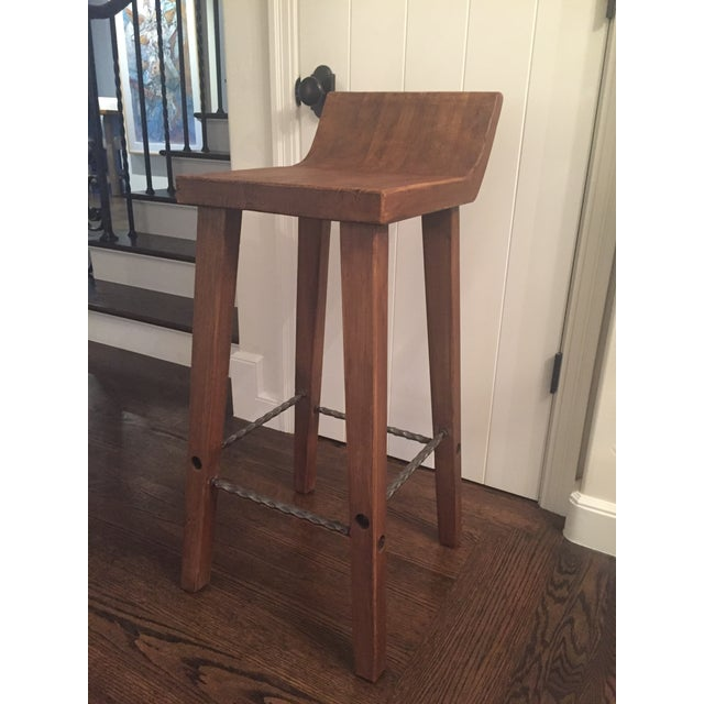 Reclaimed Elm Wood Bar Stools -- A Pair - Image 6 of 7