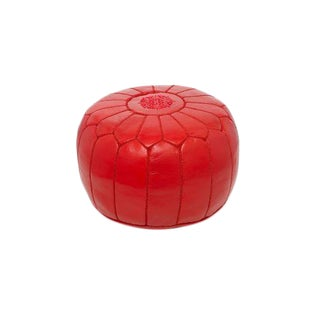 Moroccan Marrakech Red Embroidered Leather Stuffed Pouf Ottoman