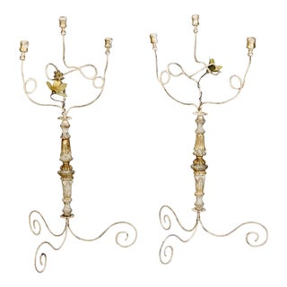19th Century Italian Gilded Three-Light Table Candelabras - a Pair