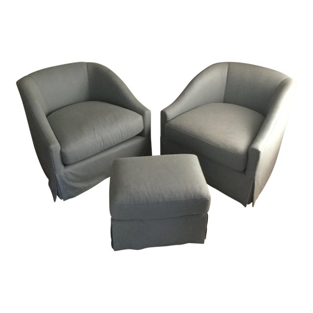 Baker Furniture Upholstered Lounge Chairs & Ottoman - Image 1 of 6