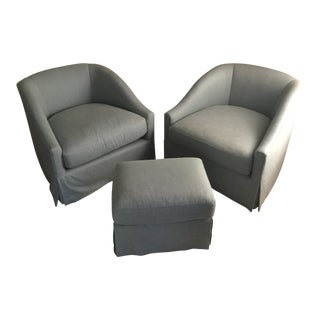 Baker Furniture Upholstered Lounge Chairs & Ottoman