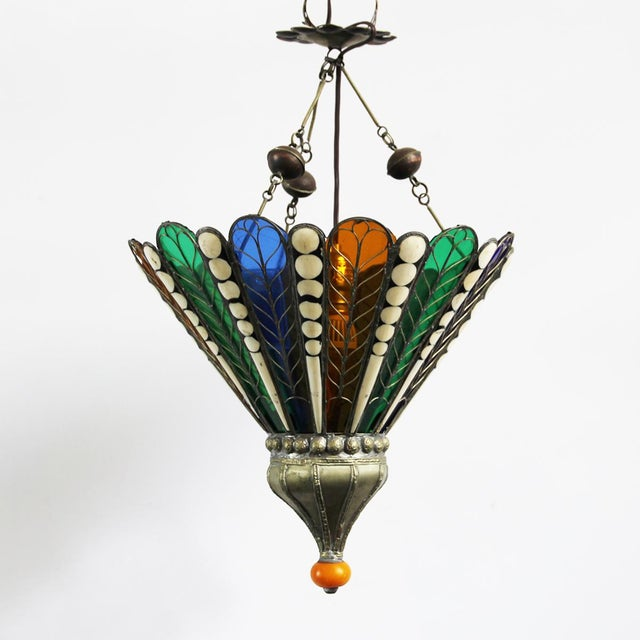 Moroccan Brass & Glass Lantern - Image 3 of 4