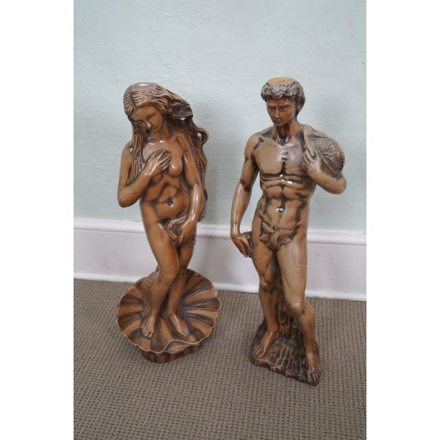 Carved Composition Adam/David Eve/Venus Pedestals - Image 2 of 10