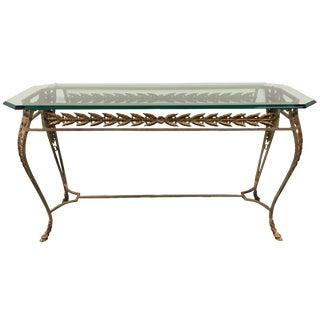 Metal Base & Beveled Glass Top Sofa Table