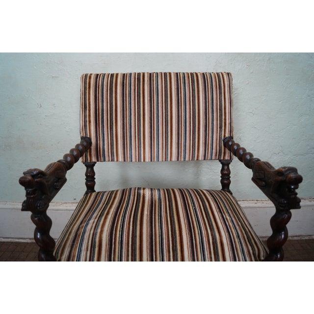 Antique Oak Lion Barley Twist Armchairs - A Pair - Image 8 of 10