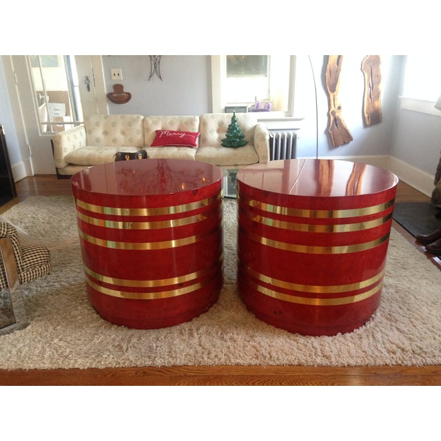 Hollywood Regency Red Burled Drum Tables - Pair - Image 2 of 7