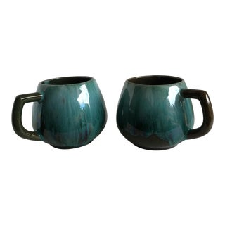 Vintage Blue Drip Glaze Pottery Mugs - A Pair