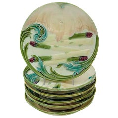 Luneville French Majolica Asparagus Plates - Set of 6