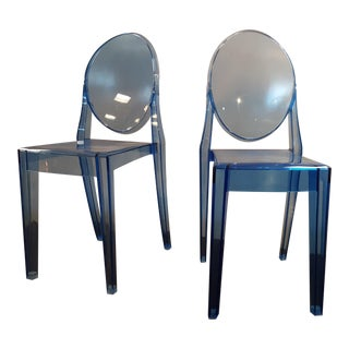 Clear Blue Specter Side Chairs - A Pair