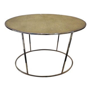 Contemporary Shagreen and Chrome Side Table