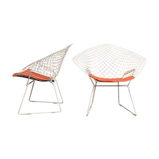 Original Knoll Bertoia Diamond Chairs - a Pair