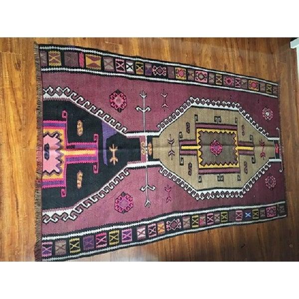 Antique Anatolian Kars Kilim Rug - 4′2″ × 6′7″ - Image 10 of 10