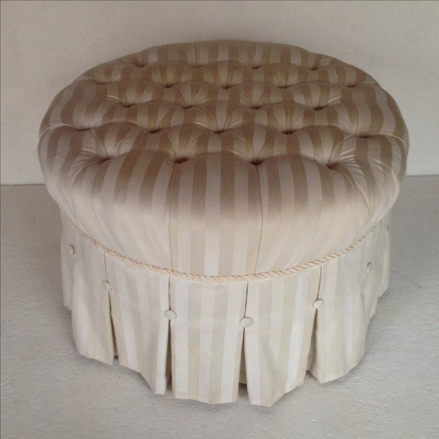 Tufted & Skirted Off White Ottoman - Image 3 of 5