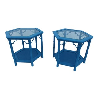 Faux Bamboo Octagonal Side Tables - Pair