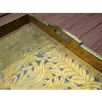 Image of Antique Ornate Hammered Brass Wood Serving Tray