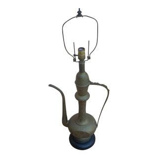 Indian Mughul Brass Teapot Table Lamp
