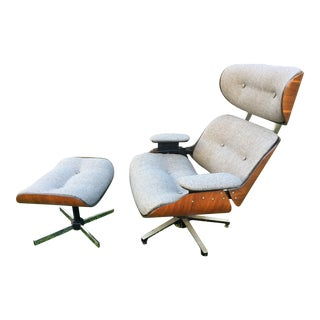 Mid-Century Lounge Chair and Ottoman Set