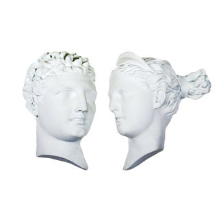 Greek Style Oversized Male & Female Plaster Profile Wall Hangings - a Pair