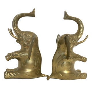 Vintage Brass Elephant Bookends - A Pair