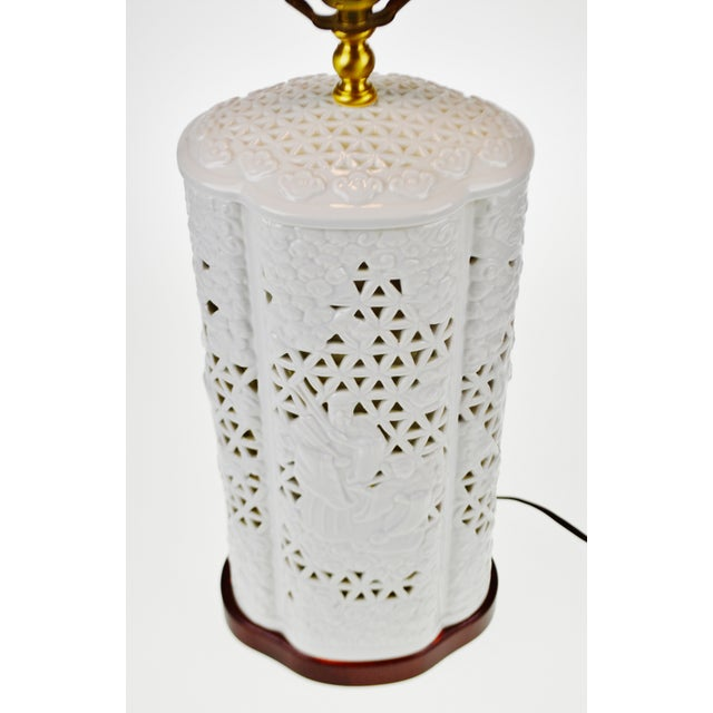 Seyei Blanc De Chine Reticulated Porcelain Lamp - Image 3 of 11