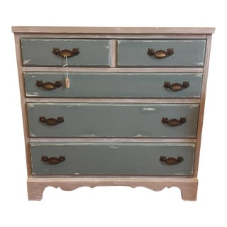 Gray & Teal Distressed Dresser