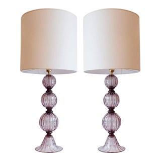 Pair of Murano Amethyst Tassel Lamps